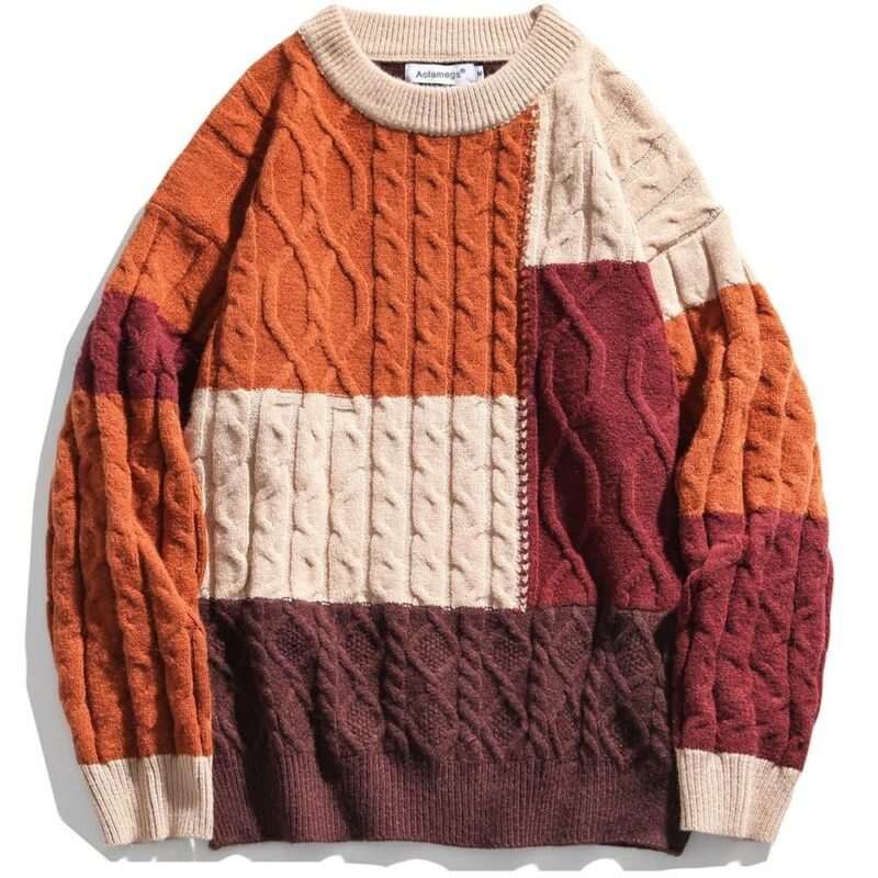 Color Block Sweater Patchwork O-Neck Knitted Pullover